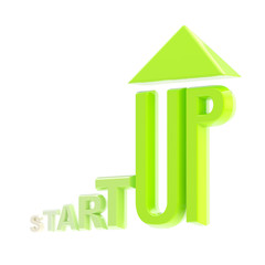 Startup green glossy growing emblem isolated