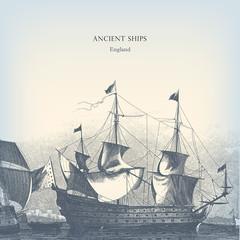 Engraving vintage old Ships illustration.