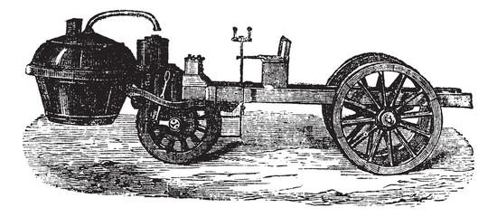 Steam-powered Tricycle, vintage engraving