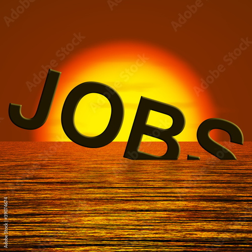 Jobs Word Sinking Showing Layoffs And Unemployment
