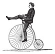 Penny-farthing or High Wheel Bicycle, vintage engraving - 39074808