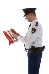 Dutch police officer is counting with abacus over white backgrou
