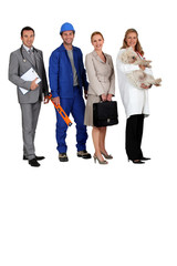 A doctor, a workman, an office woman and a vet with a dog