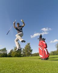 Golfspieler beim Jubeln