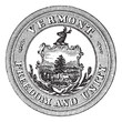 Seal of the State of Vermont, USA, vintage engraving