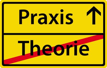 Praxis Theorie Schild Zeichen Symbol Ortsausgang