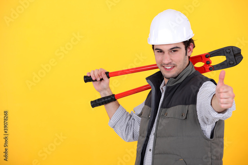 A handyman giving the thumb up.