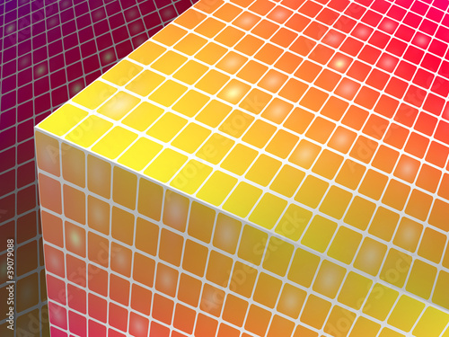 Modern colorful background with a cube