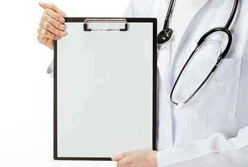 Doctor's hands holding clipboard with blank sheet of paper