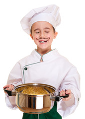 Laughing cookee boy in hood with pot in hands