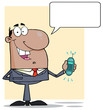 Businessman With Phone Ringing And Speech Bubbles