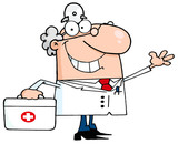 Smiling And Waving Male Doctor With A First Aid Kit