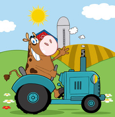 Brown Cow Farmer In Red Tractor Waving A Greeting