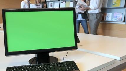 Green screen desktop set on room table