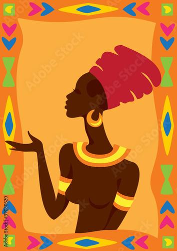 Ilustracja wektorowa z Afryki kobieta