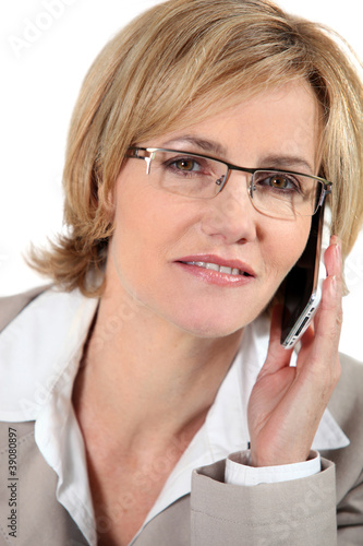 Woman listening to her cellphone