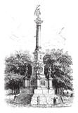 Soldiers' Monument Worcester Massachusetts USA vintage engraving