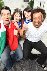 Four Italian football supporters