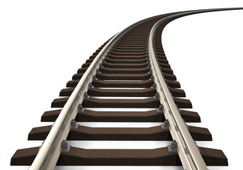 Curved railroad track