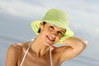 Woman in a bikini and straw hat