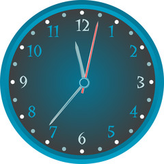 Vintage wall blue clock isolated on white background. vector