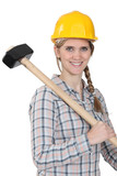 Woman with large hammer