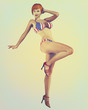 Vintage Retro Styled Pinup Illustration