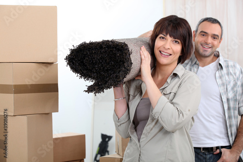 Couple moving out.