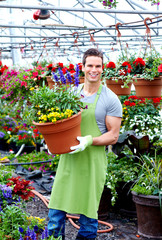 Florist man working with flowers.