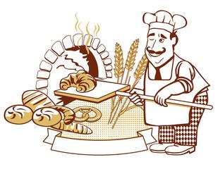 Bäckermeister am Backofen