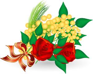 Festa della donna - mazzo di mimose e rose