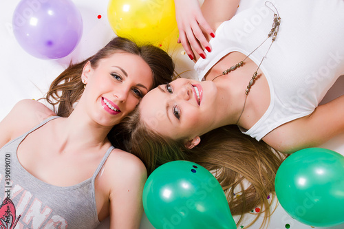 Happy womans with balloons