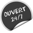 TF-Sticker rund curl unten OUVERT 24/7