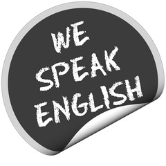 TF-Sticker rund curl unten WE SPEAK ENGLISH