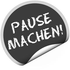 TF-Sticker rund curl unten PAUSE MACHEN!