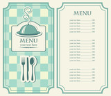menu for cafe with covered tray and steam poster