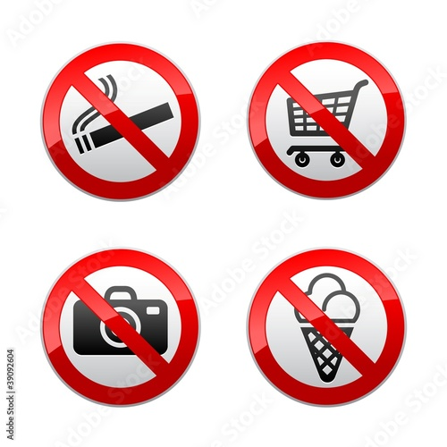 Set prohibited signs - supermarket symbols