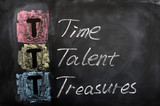 Acronym of TTT for Time, Talent, Treasures poster