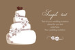 Card with white wedding cake