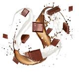 Chocolate bars in milk and chocolate splash on white background