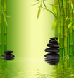Bamboo spa background with water surface