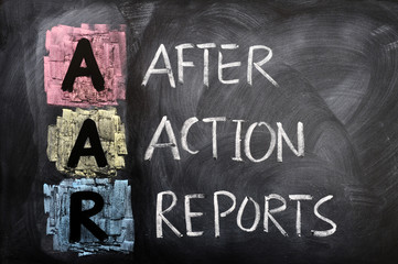 Acronym of AAR for After Action Reports