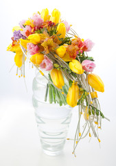 Floristry - colorful flower bouquet arrangement in vase