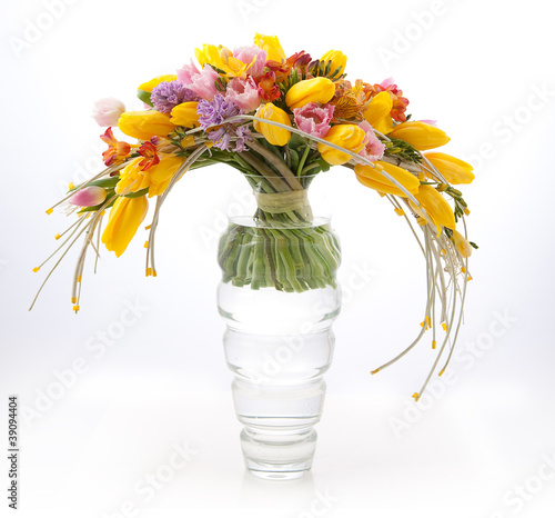 Floristics - colorful vernal flowers bouquet arrangement