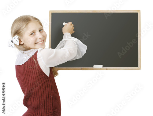 the pupil near a blackboard