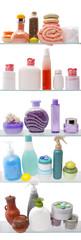 Shelf with cosmetics in a bathroom