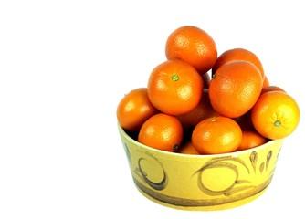 Oranges sitting in a yellow ceramic fruit bowl