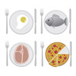 Set of colorful food signs for different types of restaraunts