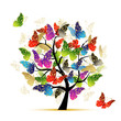 Art tree with butterflies for your design