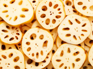 close up of sliced lotus root food background